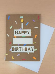Happy Birthday Cards Handmade, Creative Birthday Cards, Simple Birthday Cards, Homemade Birthday Cards, Greeting Cards Handmade, Happy Birthday Crafts, Homemade Greeting Cards, Cricut Birthday Cards, 18th Birthday Cards