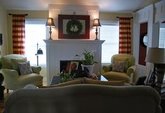 Den with cranberry and gold window treatments....love them