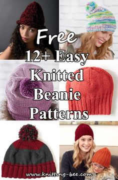 Easy Knitted Beanie Pattern Source by acalb Knit Hat Pattern Easy, Easy Knit Hat, Free Knitting Patterns For Women, Beanie Pattern Free, Cable Knitting Patterns, Christmas Knitting Patterns, Knitting For Kids, Easy Knitting, Knitted Hats