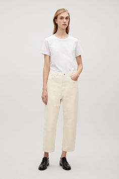 COS image 1 of Straight-fit cropped jeans in Vanilla