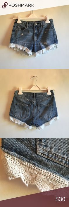Highwaisted shorts Denim highwaisted shorts from free people with white lace edges Free People Shorts Jean Shorts