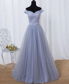 Short Sleeve Prom Dresses, Grey Bridesmaid Dresses, Prom Dresses 2018, Wedding Party Dresses, Formal Dresses, Tulle Wedding, Formal Wear, Grey Evening Dresses, Evening Gowns