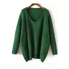 581edfc6a3f321 SheIn(sheinside) V Neck Chunky Knit Green Dolman Sweater ( 22) ❤ liked
