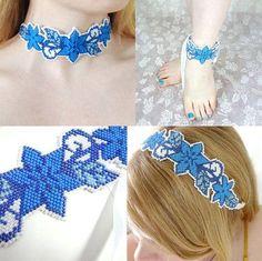 Blue Summer Flowers Bracelet, Choker, Headband or Anklet Beading Pattern from Megan's Beaded Designs at Bead-Patterns.com