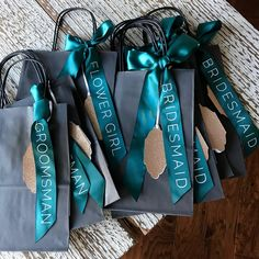 """Using Confetti Momma's """"Wedding Party Gift Bags"""" can be such a personal way to present a cherished gift to your bridesmaids. These super chic bridal party Gray"""