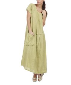 Another great find on #zulily! Green Side-Pocket Linen Maxi Dress - Plus Too #zulilyfinds