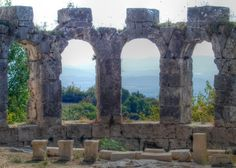 The Ancient ruins of Tlos on the Mediterranean coast of Turkey : Look closely. The background view was amazing.