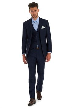 Moss 1851 Tailored Fit Italian Cloth Blue Check 3 Piece Suit