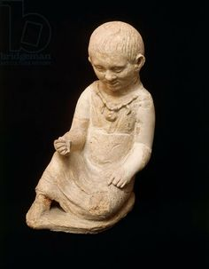 Clay figurine of a child from votive offerings near North Gate of Vulci, Montalto di Castro, Viterbo. Etruscan civilization, 2nd century b.C. Artwork-location: Rome, Museo Nazionale Etrusco Di Villa Giulia (Villa Giulia National Museum, Archaeological Museum)