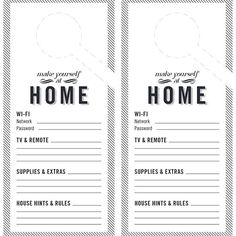 Guest Room Door Hanger Free Template Printable | Our free design is perfect for the guest door: Just print on card stock and fill in your wifi password, house rules, and other helpful hints for a happy holiday stay, then hang it from your guest bedroom's doorknob.