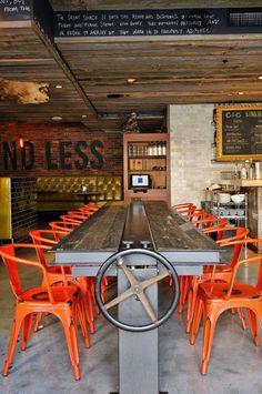 """Craft & Commerce"" Restaurant in San Diego by Andreea Robescu & Andrei Design Robu Deco Restaurant, Pizza Restaurant, Restaurant Concept, Modern Restaurant, Restaurant Interior Design, Industrial Restaurant Design, Orange Restaurant, Restaurant Ideas, Design Café"