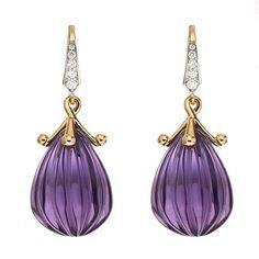 Carved Amethyst Drop Earrings with Diamonds #luxuryjewelry