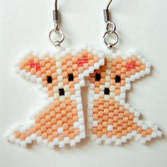 Chihuahua Dog Earrings, Seed Bead Animal Jewelry, Hypoallergenic Earrings
