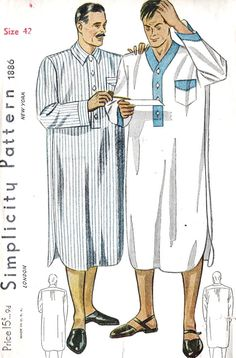 1930s Mans Night Shirt Vintage Sewing Pattern, Simplicity 1886 Chest 42""