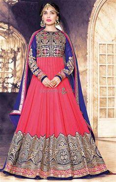 Buy Pink Color Georgette Foil Embroidered Anarkali Salwar Kameez Suit Design online in India at best price.This is a designer salwar kameez suit. Top crafted in pure georgette fabric & pure shantoon inner fabric. Lehenga, Robe Anarkali, Costumes Anarkali, Anarkali Tops, Anarkali Suits, Anarkali Churidar, Punjabi Suits, Kurti, Ladies Salwar Kameez
