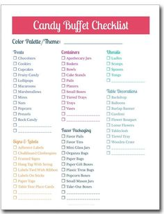 Such good ideas for a candy buffet for our wedding or our next party. Love these tips! And the printable checklist is super helpful. Quinceanera Planning, Quinceanera Party, Quinceanera Dresses, Prom Party, Party Wedding, Wedding Cake, Wedding Reception, Party Planning Checklist, Birthday Party Checklist