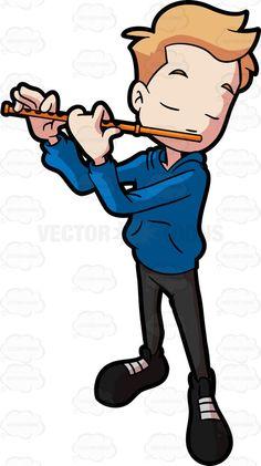 An adolescent boy making music with a flute #cartoon #clipart #vector #vectortoons #stockimage #stockart #art