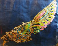 **** Peacock ****    The rich blue Tussar silk fabric is the perfect backdrop for the peacock as it walks around, its colors on full display as it discovers a world of splendor and beauty. We would recommend a strut to go with the scarf!    Women's Traditional Hand Painted Scarf by ArachneStyle on Etsy, $90.00