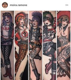 Tattooed pinup punk girls tattoo by moira. Pin Up Girl Tattoo, Pin Up Tattoos, Time Tattoos, Music Tattoos, Tatoos, Tattoo Designs For Women, Tattoos For Women Small, Small Tattoos, Traditional Tattoo Pin Up Girl
