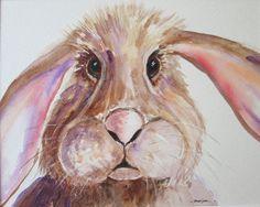 HARE Art, Rabbit painting, Bunny rabbit portrait, Wildlife painting, baby hare artwork, nursery gift, Pet portrait, original watercolour by marjansart on Etsy