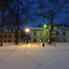 Södertälje. Evening when it snows.  Twilight.  Sweden.