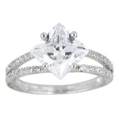 Sterling Silver Micropave Cubic Zirconia Princess-cut Ring