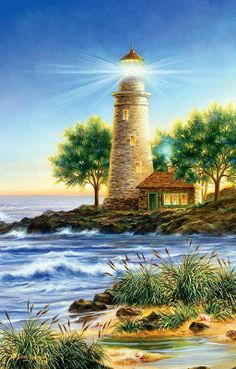 219 Best Lighthouse Paintings Images On Pinterest