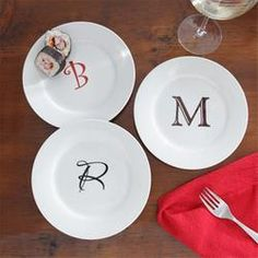 Personalized Hors D'oeuvre Plates with Custom Monogram  $39.95