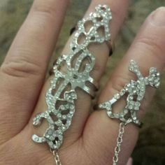 Bling Slave Ring Silver plated jeweled slave ring. This is really beautiful! This is brand new never been worn. Totally adjustable too!  Comes in jewelery box. Jewelry Rings