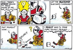 Small Saves GOALIE comic strip from book Where's My Defense? Street hockey