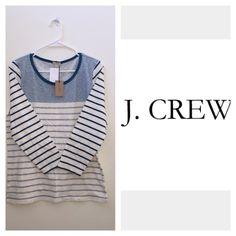 J Crew Color Stripe Tee Cotton machine wash. Barely blue mineral color. J. Crew Tops Blouses