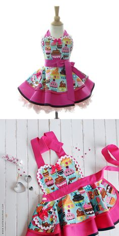 Blue Cupcakes Apron for kids Cute Girls Kawaii by bambinoamore