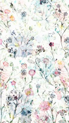 Spring Floral by Angel Gerardo - Colorful watercolor flowers on fabric, wallpaper, and gift wrap. Beautiful hand painted floral pattern with a whimsical twist. Wallpaper Pastel, Flowery Wallpaper, Cute Wallpaper Backgrounds, Pretty Wallpapers, Flower Backgrounds, Phone Backgrounds, Iphone Wallpaper, Wallpaper Art, Vintage Floral Wallpapers