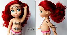 Размеры (мерки кукол Дисней Аниматор) и сравнительное фото куклы Дисней и Галуб Беби Фейс (фейсинки)