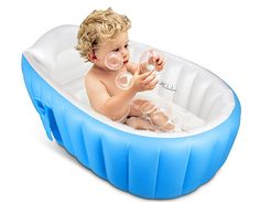 TOPIST Baby Inflatable Bathtub, Portable Mini Air Swimming Pool Kid Infant Toddler Thick Foldable Shower Basin with Soft Cushion Central Seat (Blue): Home & Kitchen Newborn Bath Tub, Baby Bath Seat, Baby Tub, Bath Seats, Inflatable Baby Bath, Mini Piscina, Portable Bathtub, Shower Basin, Baby Baden