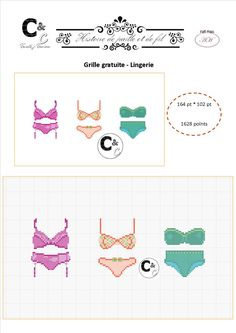Grille gratuite - Lingerie Le Point, Lingerie, Cross Stitch Patterns, Needlework, Bullet Journal, Crossstitch, Sewing, Crafts, Free