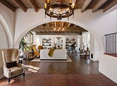 Fantastic beamed ceilings and arched walkways.