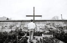 Berlin   Geteilte Stadt. Memorial To Peter Fechter At The Berlin Wall Photograph