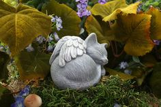 Angel Cat Statue Pet Memorial Marker