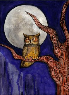 Night Owl with Full Moon - 8x10 Print from original painting - woodland tree night spooky halloween dark full moon