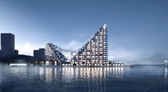 Harbour areas are rejuvenated around the globe these days. Denmark's second largest city is creating a recreational urban area with significant architecture Aarhus, Building Rendering, Building Concept, Terrace Building, Tower Building, Pyramid Building, Building Facade, Big Architects, Big Design