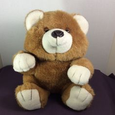 "1988 Chrisha Playful Plush Plush Sitting Bear Stuffed Animal 12"" Brown/White  #ChrishaPlayfulPlush"