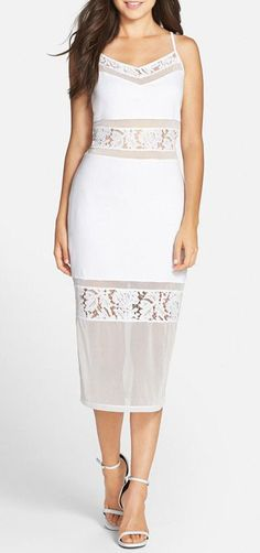 'Lucky Layer' Lace Inset Body-Con Midi Dress