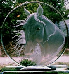 Horse* Hand Engraved Starfire Crystal Disc by Catherine Miller of Catherine Miller Designs* Technique-stone wheel engraved both sides. Glass Engraving, Hand Engraving, My Glass, Glass Art, Fused Glass, Stained Glass, Glass Etching, Etched Glass, Sandblasted Glass