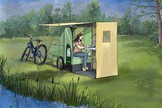 Foldable Trailer, Bike Motor, Privacy Fence Designs, Tiny Trailers, Go Ride, Van Home, Camping Mattress, Solar Panel Kits, Mini Camper