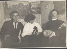Sculptor John Bradley Storrs (1885–1956) at right, with friends and a puppy, ca. 1906. John Bradley Storrs papers.