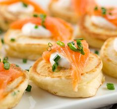 cream cheese pancakes with smoked salmon. pretty appetizer.