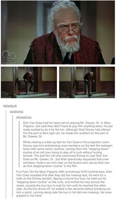 This is fantastic.these are the reasons that not only do I love Walt Disney & also Dick van Dyke, but that I just love Disney in general bc theres always some fun story like this! Disney Pixar, Walt Disney, Disney Memes, Disney And Dreamworks, Disney Love, Disney Magic, Disney Stuff, Funny Disney, Cool Disney Facts