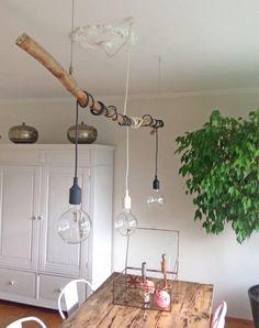Decoration with branches- Deko mit Ästen Decoration with branches - Dining Table Lighting, Lampe Decoration, Home Decoracion, Metal Clock, Branch Decor, Room Lights, Creative Decor, Metal Walls, Home And Living