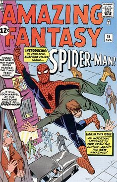 Original Amazing Fantasy Cover Art By Steve Ditko Although the interior artwork was by Steve Ditko alone, Stan Lee rejected Ditko's cover art and commissioned Jack Kirby to pencil a cover that Ditko inked. Stan Lee, Harry Osborn, Mary Jane Watson, Gwen Stacy, Old Comics, Vintage Comics, Jack Kirby, Spader Man, Caricature